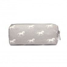 PC - Miss Lulu Canvas Pencil Case Horse Grey